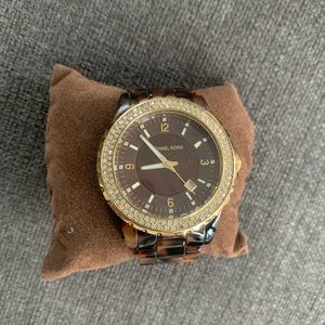 MICHAEL KORS Gold and Tortoise Shell Watch